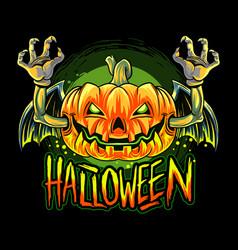 vampire bat with halloween pumpkin head vector image