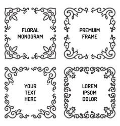 vintage floral line art frame vector image