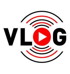 Vlog communication logo flat style vector