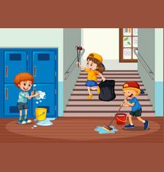 Volunteer kids cleaning school hallway vector