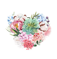watercolor floral heart composition vector image