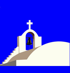 White chapel at santorini greece vector