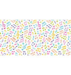 White musical seamless texture with colorful notes vector