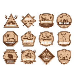 wild animals icons and hunting equipment vector image