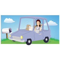 woman chatting in car vector image