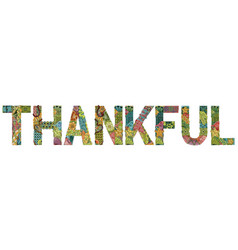 word thankful with falling leaves vector image