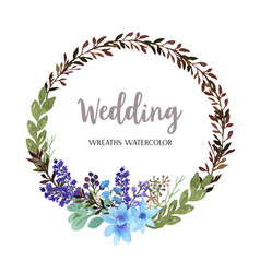 wreaths watercolor flowers hand painted with text vector image