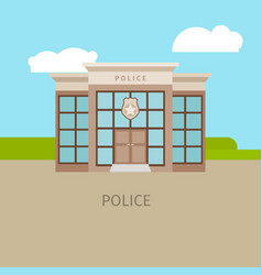 colored urban police building vector image