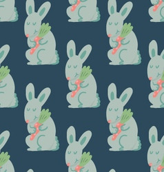 Cute rabbit holding carrot seamless pattern vector image vector image