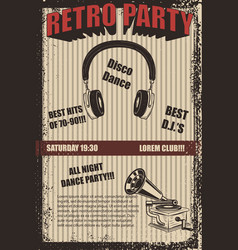 retro party poster template vector image vector image