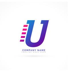 speeding letter u logo design vector image