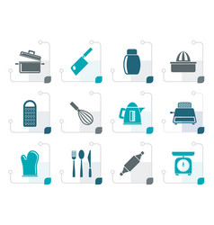 stylized kitchen and household utensil icons vector image