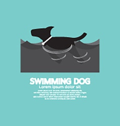 Swimming Dog In The Wave vector image vector image