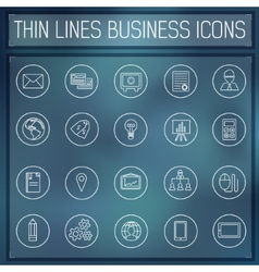 thin line business set icons concept Color vector image