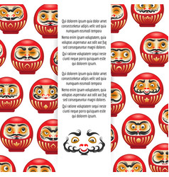 colorful japanese daruma dolls poster vector image vector image