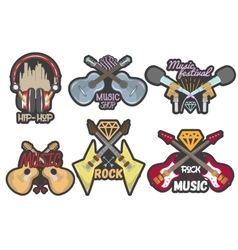 colorful set of music theme emblems vector image