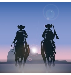 Cowboys silhouettes galloping across the prairie vector image