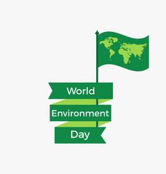world environment day 5th june flag with a world vector image vector image
