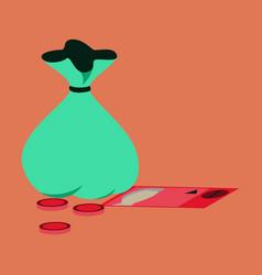 Flat icon on stylish background bag with money vector