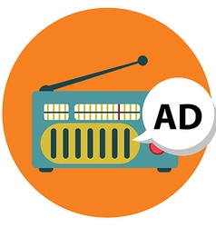 Radio icon with ad sign radio marketing vector image