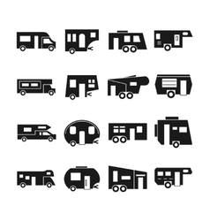 RV cars campers icons vector image vector image