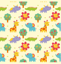seamless pattern wild animal vector image