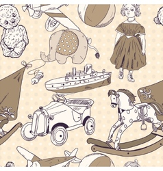 Toys sketch seamless pattern vector image