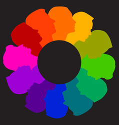 a colorful diverse circle of faces vector image