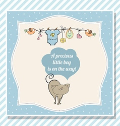 baby boy shower card with little cat vector image