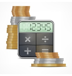 Calculator coins vector image vector image