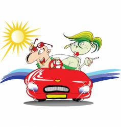 couple driving at sunset vector image vector image