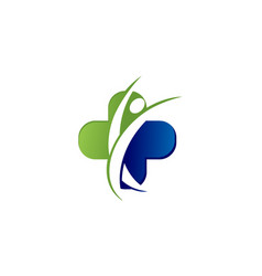 human medical cross logo vector image