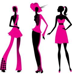Three fashion girls vector image vector image