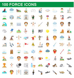 100 force icons set cartoon style vector
