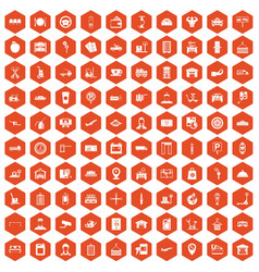 100 loader icons hexagon orange vector