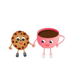 a funny chocolate chip cookie and a cup coffee vector image