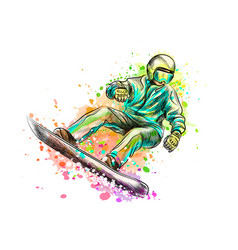 abstract snowboarder from a splash of watercolor vector image