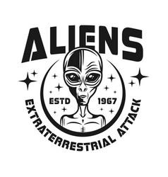 aliens emblem in vintage style vector image