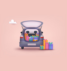 An opened car trunk filled with gift boxes 3d web vector