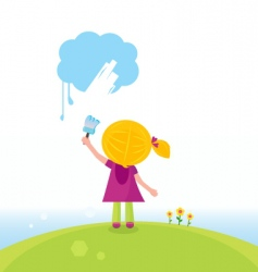 artist kid painting on sky vector image