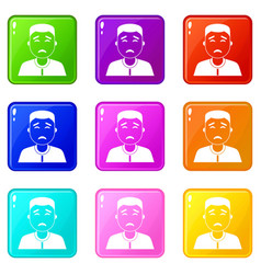 Asian man icons 9 set vector