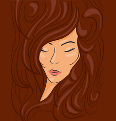 Beautiful face of a brunette girl in wavy hair vector