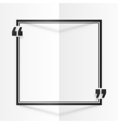Black square quote frame at white folded paper vector