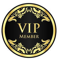 Black VIP member badge with golden vintage pattern vector