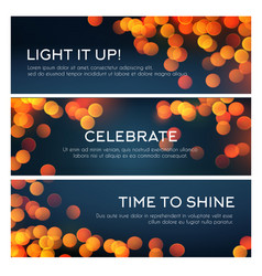 Bokeh banner of blurred golden lights copy space vector