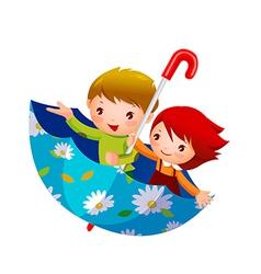 Boy and girl in umbrella vector