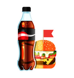 Burger and new soda vector