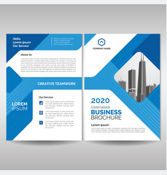 business brochure cover layout template with blue vector image