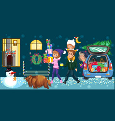 cartoon happy family going home with presents vector image