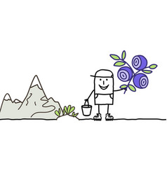 Cartoon man and blueberries picking vector